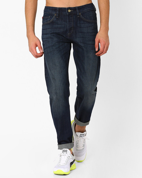 Lightly Washed Straight Jeans By Celio ( Blue )