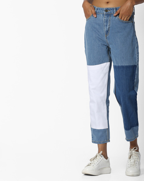 Ankle-Length Jeans With Patches By Evah London ( Blue )