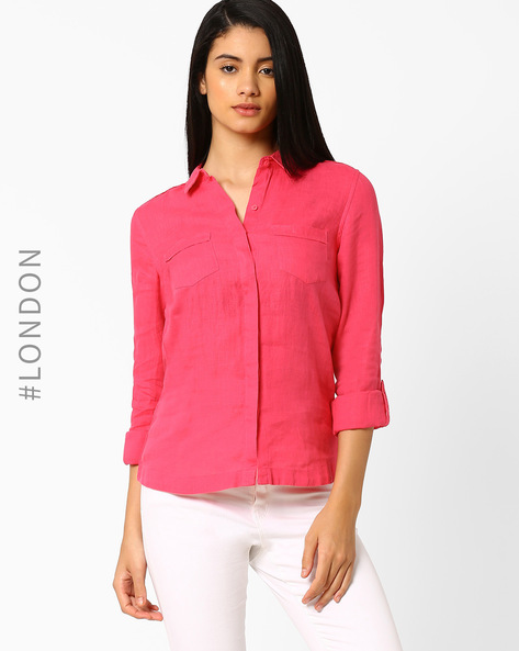 Linen Shirt With Roll-Tab Sleeves By Marks & Spencer ( Pink )