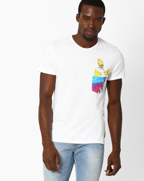 Regular Fit T-shirt With Printed Patch Pocket By Free Authority ( White )