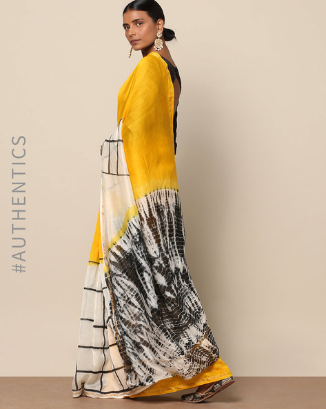 Shibori Tie Dye Chanderi Saree With Zari By Indie Picks ( Multi ) - 460146863001