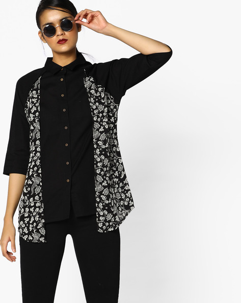 Printed Layered Top By PE IW Fusion ( Black )