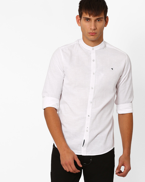 Slim Fit Shirt With Band Collar By The Indian Garage Co ( White )