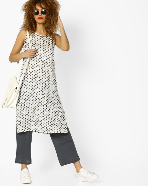 Polka-Dot Print Sleeveless Kurta By AJIO ( Offwhite )