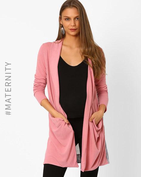 Maternity Waterfall Shrug By AJIO ( Pink )