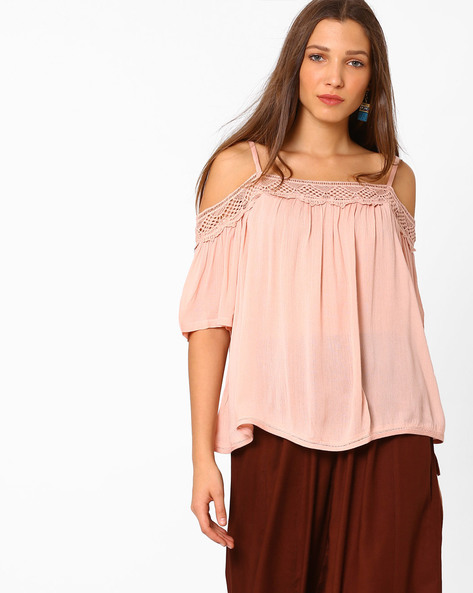 Cold-Shoulder Top With Lace By AJIO ( Pink )