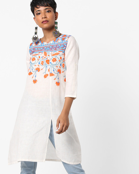 Floral Print Straight Kurta With Front Slit By Global Desi ( Multi )