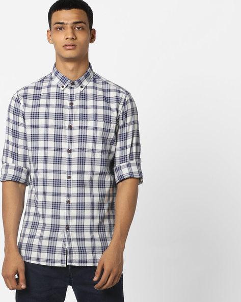 Checked Button-Down Shirt By AJIO ( Blue )