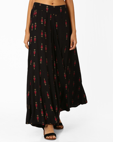 Printed Palazzo Pants With Elasticated Waistband By W ( Black )