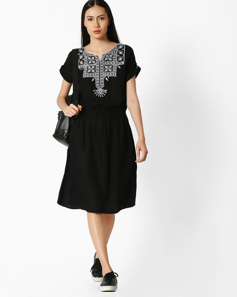 Embroidered Tunic With Elasticated Waist By Juniper ( White )