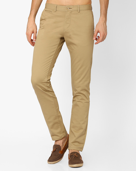 Dobby Tapered Fit Trousers By BASICS ( Beige )