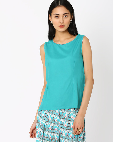 Sleeveless Solid Top By AJIO ( Teal )