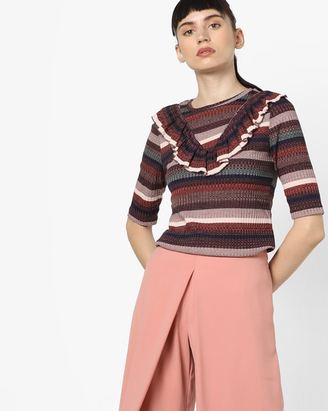 Striped Ribbed Top With Ruffled Panel By Vero Moda ( Rednavy )
