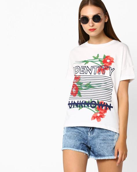 Graphic Print Crew-Neck T-shirt By AJIO ( White ) - 460053633009
