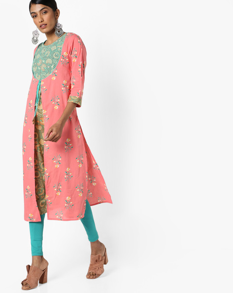 Floral Print Kurta With Contrast Innerlay By AJIO ( Coral )