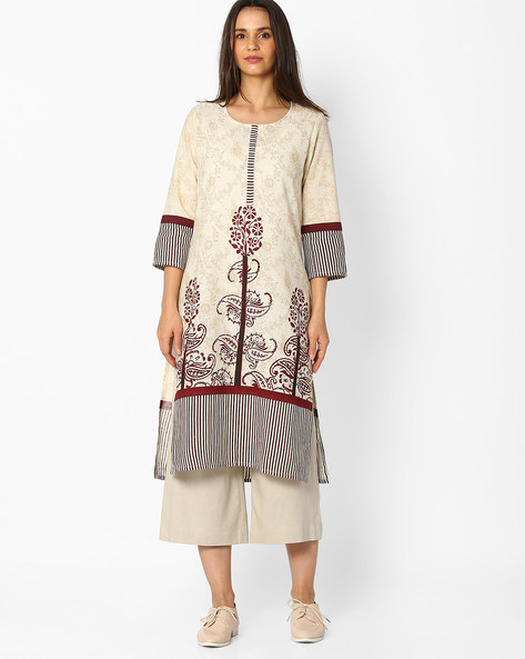 Printed Straight Kurta By Jiyaa ( White )