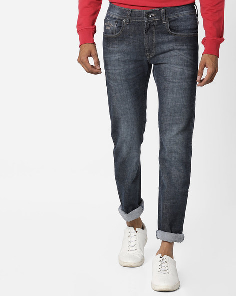 Lightly Washed Slim Fit Jeans By Pepe Jeans ( Blueblack )