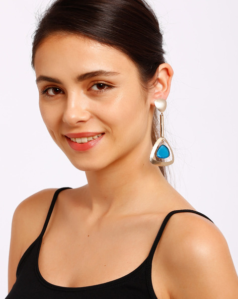 Gold-Plated Drop Earrings By Ssoul ( Navyblue )