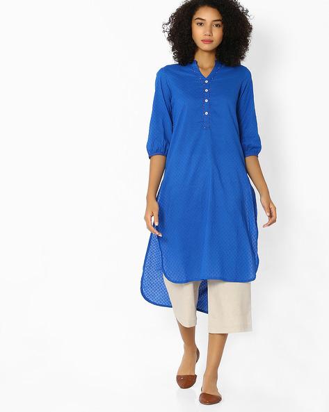High-Low Kurta With Mandarin Collar By OVI ( Blue )