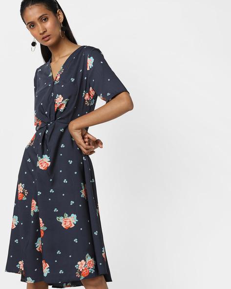 Floral Print A-line Dress By Femella ( Navyblue )