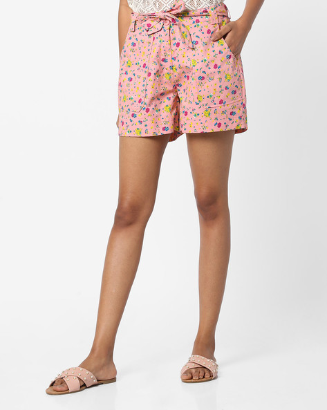 Floral Print Shorts With Waist Tie-Up By AJIO ( Lightpink )