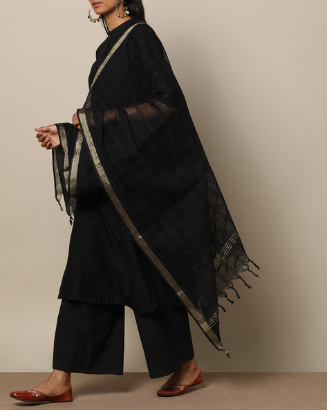 Missing Checked Cotton Dupatta With Zari Border By Indie Picks ( Black )