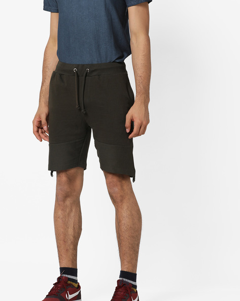 Shorts With Drawstring Fastening By AJIO ( Olive )