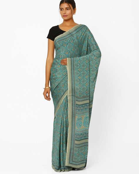 Printed Crepe Saree By Majestic Silk ( Indigo )