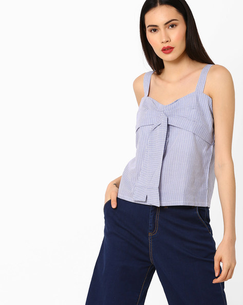 Striped Panelled Strappy Top By AJIO ( Blue )
