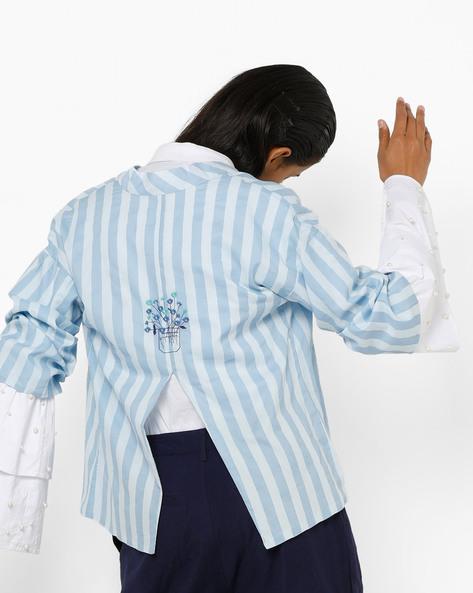 Striped Open-Front Shrug With Back Slit By AJIO ( Blue )