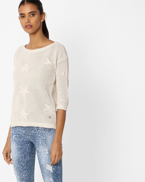 Crew-Neck Pull Over With Ribbed Hems By Only ( White )