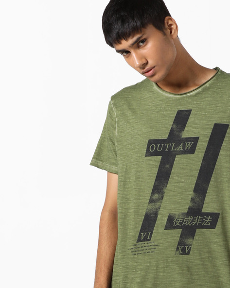Graphic Print T-shirt With Raw Edged Hems By AJIO ( Green )