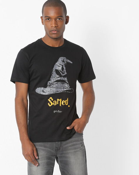 Graphic Print Cotton T-shirt By Souled Store ( Black )