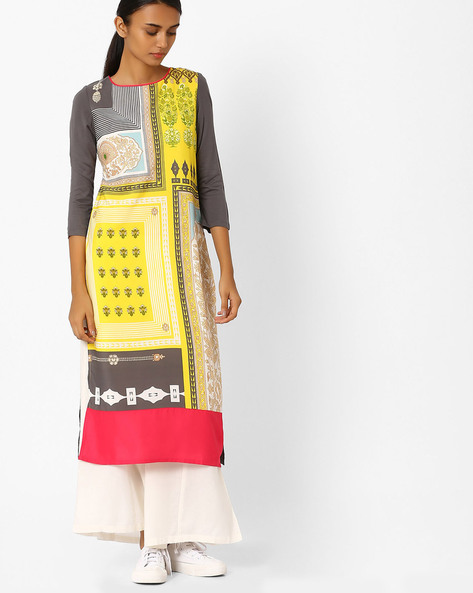 Floral Print Straight Kurta By W ( Yellow )