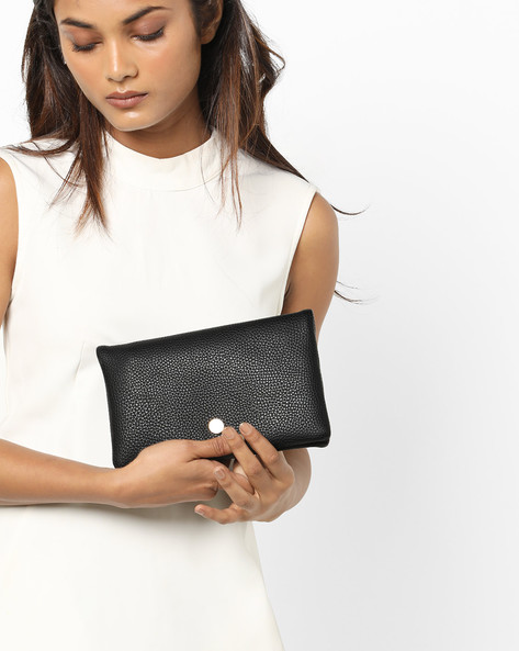 Textured Foldover Clutch By Lino Perros ( Black )