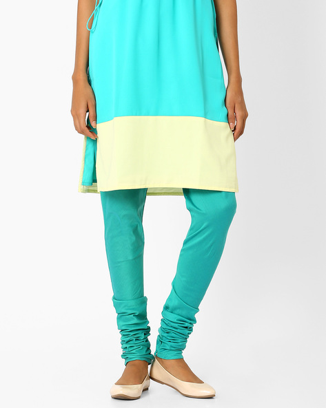 Churidar Pants With Drawstring Waist By AJIO ( Lightblue )