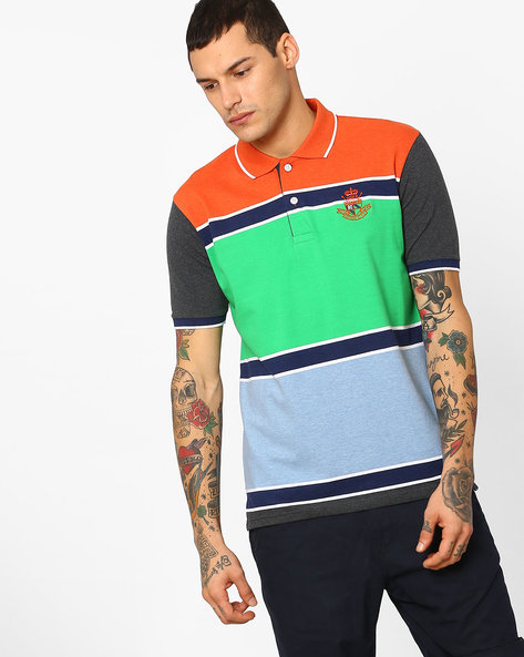 Colourblock Polo T-shirt With Striped-Tipped Hems By DUKE ( Orange )