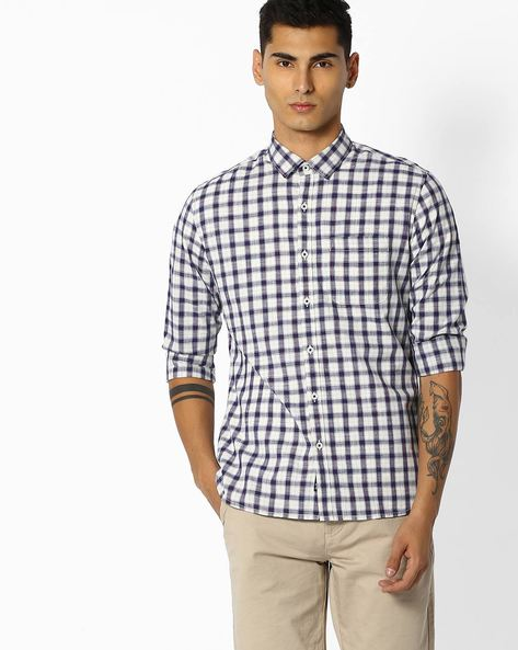 Checked Shirt With Curved Hem By NETPLAY ( Beige )