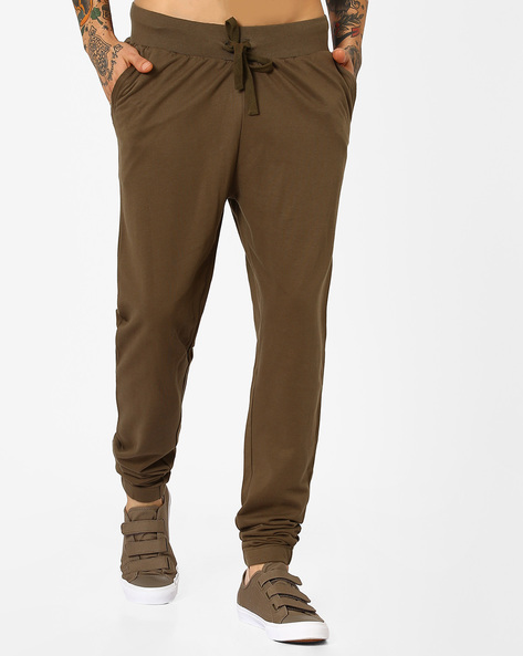 Slim Fit Mid-Rise Joggers By Blue Saint ( Olive )