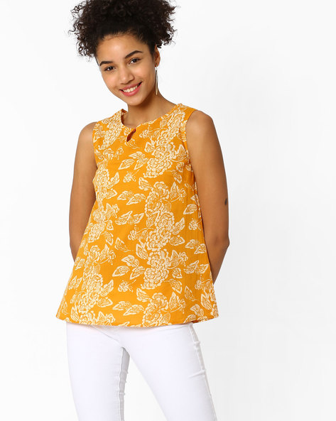 Floral Print Flared Top By AJIO ( Mustard )