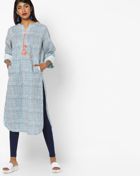 Printed Kurta With Placement Embroidery By AJIO ( Blue )