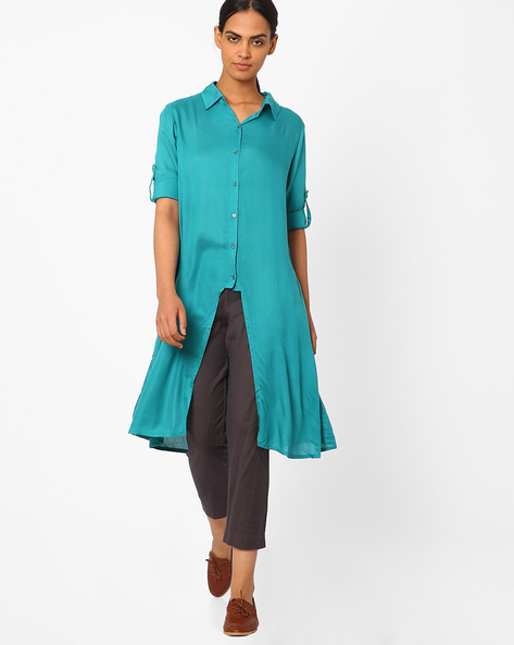 Collared Kurta With Front Slit By Juniper ( Teal )