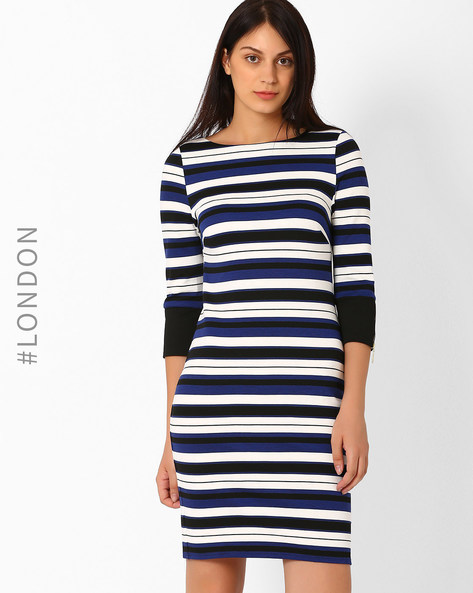 Striped Bodycon Dress By Marks & Spencer ( Blue )