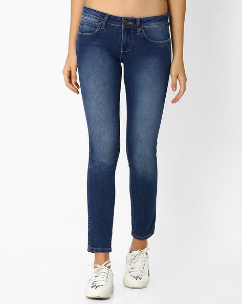 Lightly Washed Slim Fit Jeans By WRANGLER ( Blue ) - 460065905001
