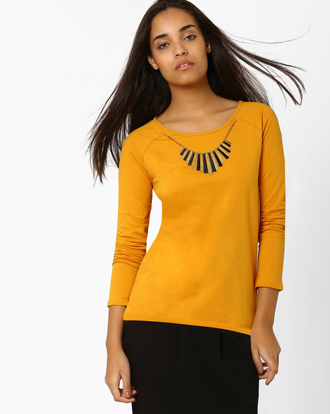 Top With Fringe Neckpiece By SF Jeans By Pantaloons ( Mustard )