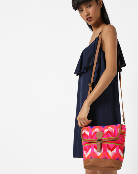 Jacquard Sling Bag By Kanvas Katha ( Tan ) - 460124234001