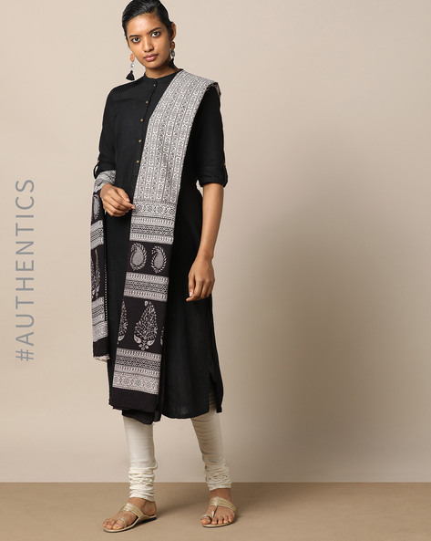 Handblock Print Bagh Cotton Dupatta By Indie Picks ( Black ) - 460165082001