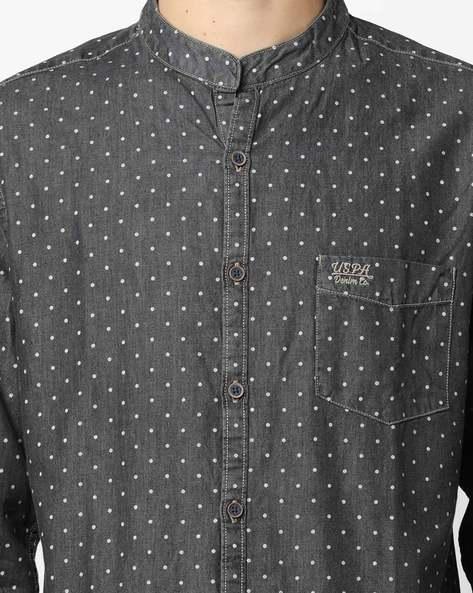 Polka-Dot Print Shirt With Mandarin Collar By US POLO ( Assorted )
