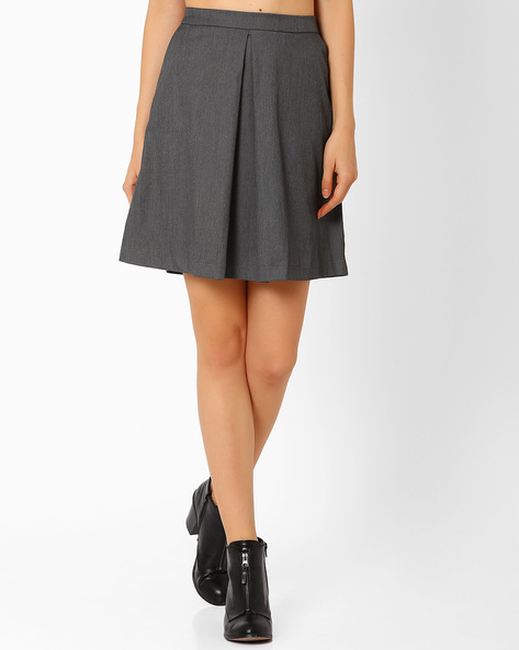 A-Line Mini Skirt By AJIO ( Grey )