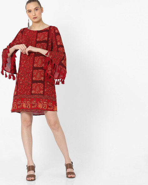 Floral Print Shift Dress With Flared Sleeves By Rena Love ( Maroon )